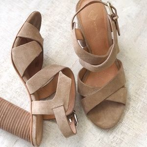 ANTONIO MELANI Shoes - Tan Block Heel Sandals
